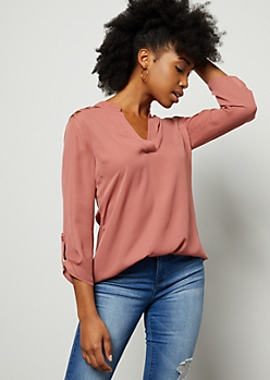 Pink Lattice Shoulder V Neck Blouse