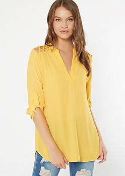 Yellow Lattice Shoulder V Neck Blouse