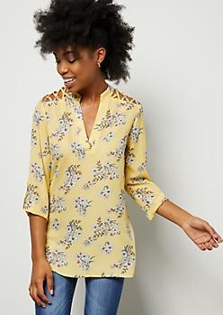 Yellow Floral Print Lattice Shoulder V Neck Blouse