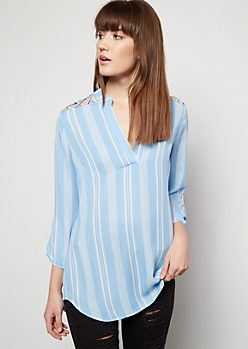 Blue Striped Lattice Shoulder V Neck Blouse