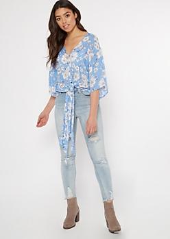 Blue Floral Print Tie Front V Neck Blouse