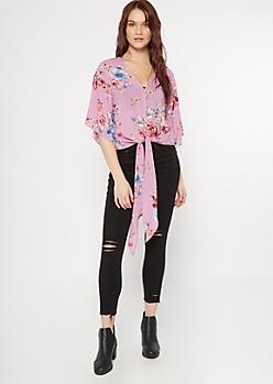 Purple Floral Print Dolman Tie Front Top