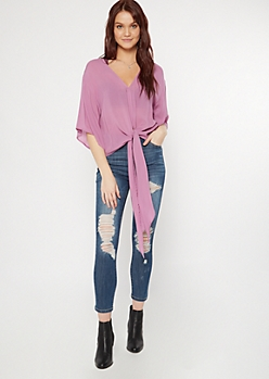 Purple Dolman Tie Front Top