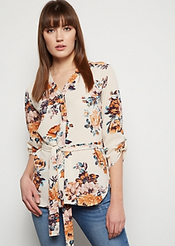 Ivory Floral Print Button Down Crepe Shirt
