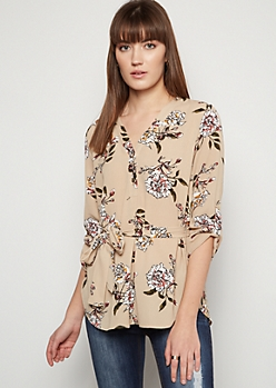 Tan Floral Print Button Down Crepe Shirt