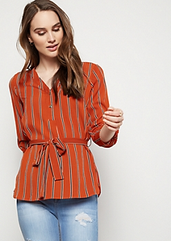Burnt Orange Striped Button Down Crepe Shirt