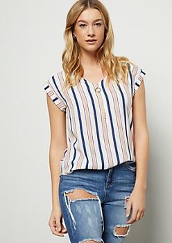 White Striped Cap Sleeve Zip Blouse