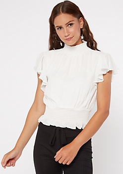 Ivory Mock Neck Smocked Blouse