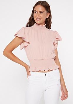 Pink Mock Neck Smocked Blouse
