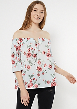Light Blue Floral Print Off The Shoulder Notch Neck Top