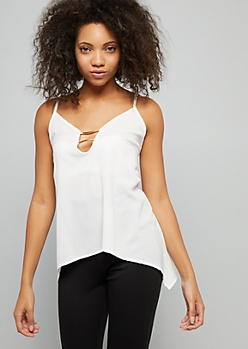 Ivory Gold Bar Keyhole Cutout Cami