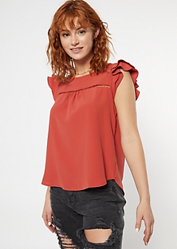 Burnt Orange Ladder Inset Ruffle Sleeve Top