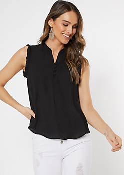 Black Button Neck Ruffle Trim Top