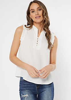 Ivory Button Neck Ruffle Trim Top