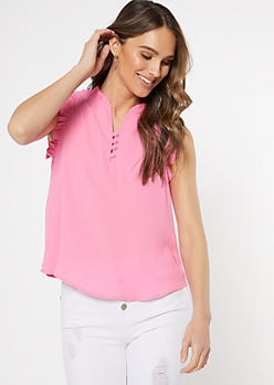 Pink Button Neck Ruffle Trim Top