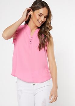 Pink Button Neck Ruffle Trim Top
