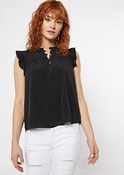 Black Ruffle Sleeve Button Down Top
