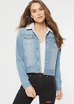 Light Wash Sherpa Lined Jean Jacket