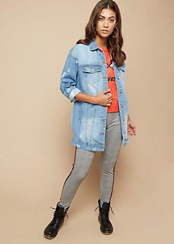 Medium Wash Distressed Boyfriend Jean Jacket