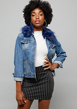 Medium Wash Faux Fur Collar Jean Jacket