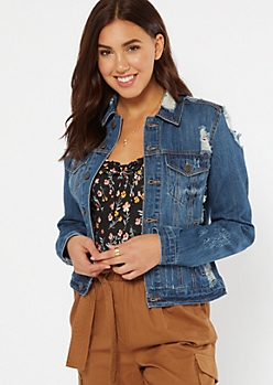 Dark Wash Distressed Jean Jacket