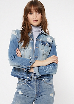 Light Wash Distressed Jean Jacket