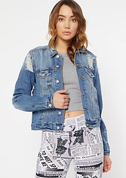 Medium Wash Distressed Jean Jacket