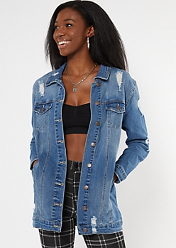 Dark Wash Ripped Longline Jean Jacket
