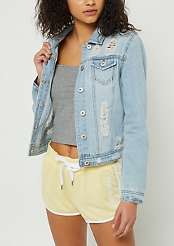 Light Wash Destructed Jean Jacket