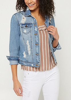 Medium Wash Destructed Jean Jacket