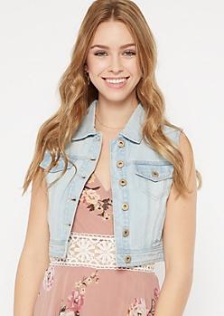 Light Wash Distressed Jean Vest