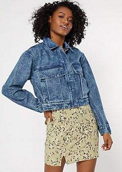 Dark Wash Snap Front Cropped Jean Jacket