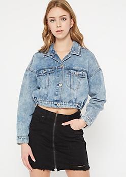 Medium Wash Drop Shoulder Crop Jean Jacket
