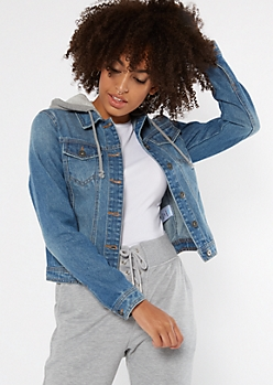 Medium Wash Hooded Jean Jacket