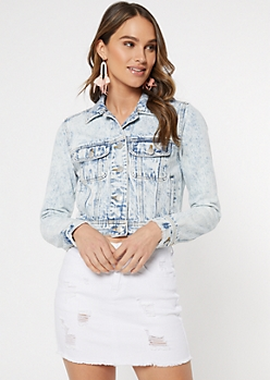 Light Stone Wash Cropped Jean Jacket