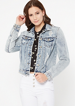 Acid Wash Distressed Jean Jacket