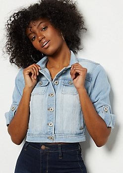 Light Wash Cropped Jean Jacket