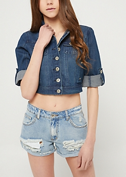 Dark Wash Cropped Denim Jacket