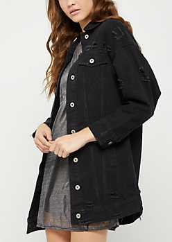 Black Long Length Jean Jacket