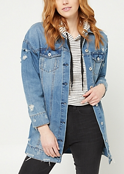 Medium Wash Long Length Denim Jacket