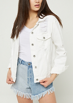 White Shredded Jean Jacket