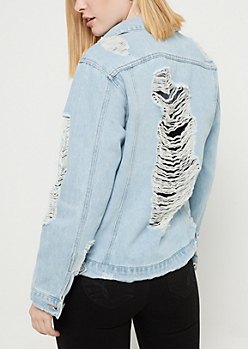 Light Wash Shredded Jean Jacket