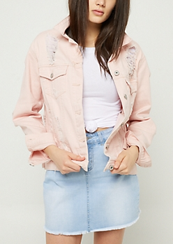 Pink Shredded Jean Jacket