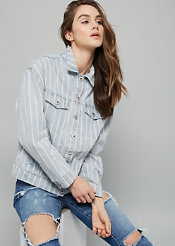 Light Wash Striped Button Down Denim Jacket