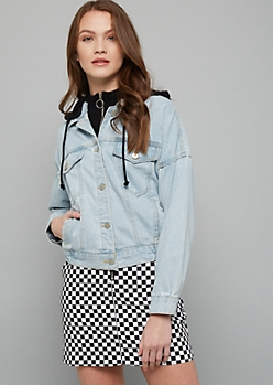 Light Wash Knit Hooded Denim Jacket