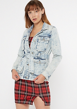 Light Acid Wash Short Denim Trench