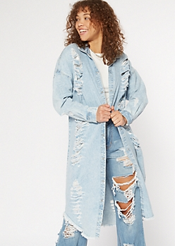 Light Acid Wash Distressed Duster Jean Jacket
