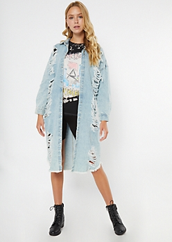 Light Wash Ripped Duster Jean Jacket