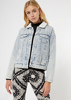 Blue Denim Sherpa Lined Trucker Jacket