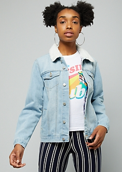 Light Wash Sherpa Collar Jean Jacket
